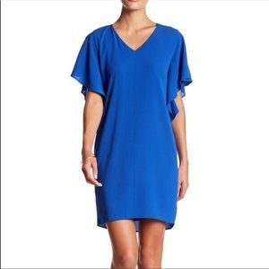 Eliza J Blue Crepe Split Dolman Shift Dress 10